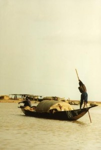 African Man in Boat